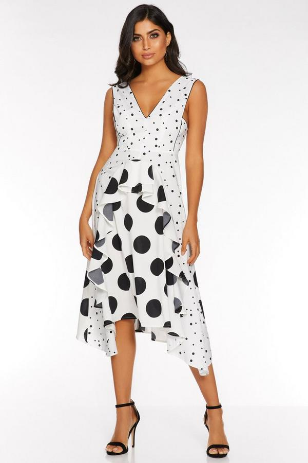 White and Black Polka Dot Frill Dress