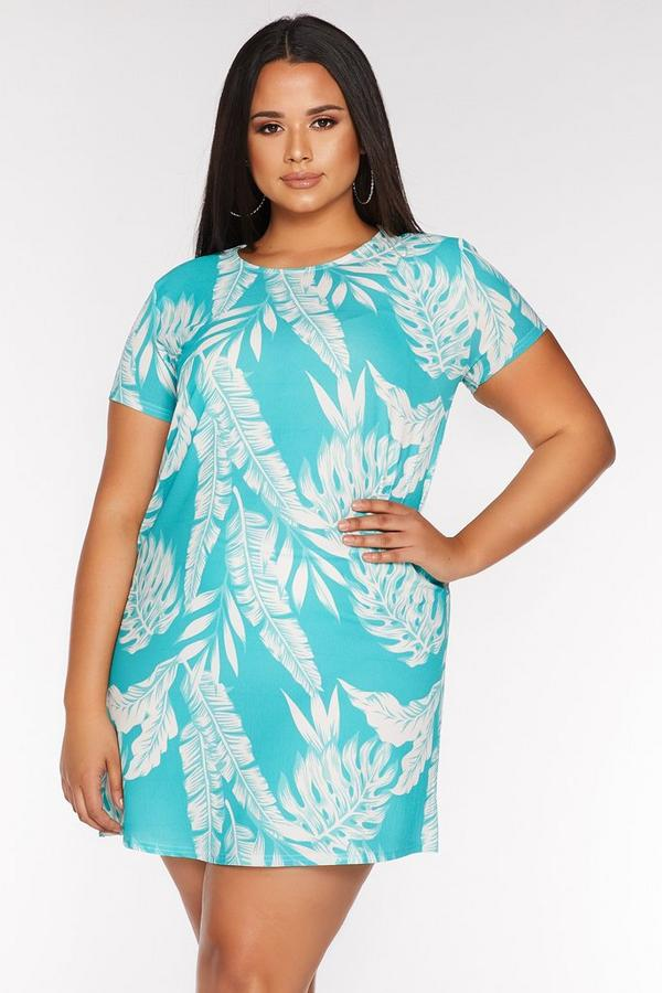 Curve Turquoise Tropical Print Tunic Dress