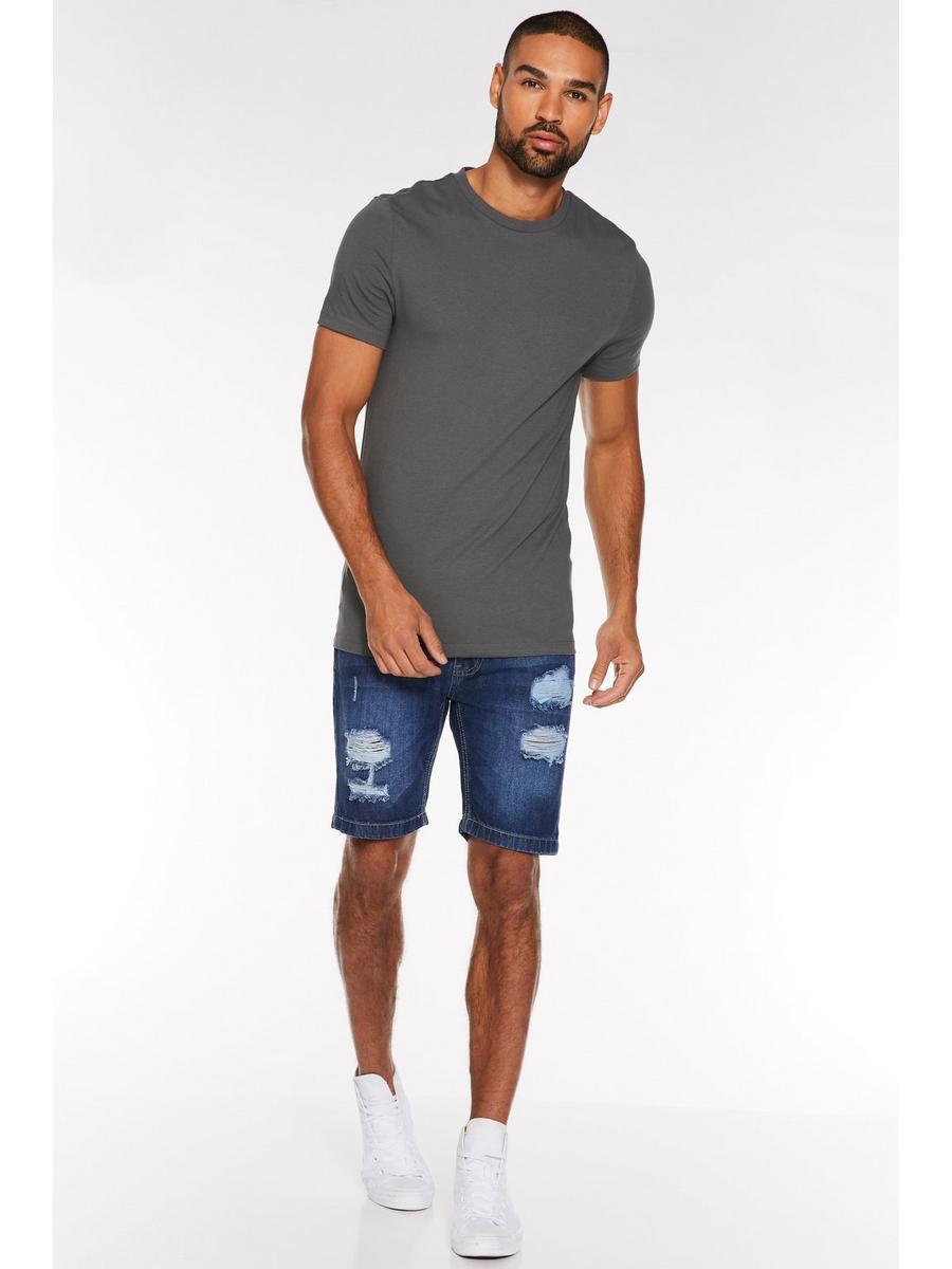 Ripped Denim Shorts in Dark Wash
