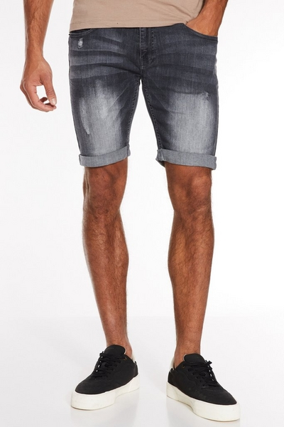 Distressed Denim Shorts in Grey