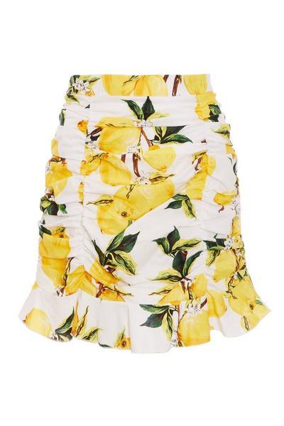 White Yellow Lemon Print Ruched Bodycon Skirt