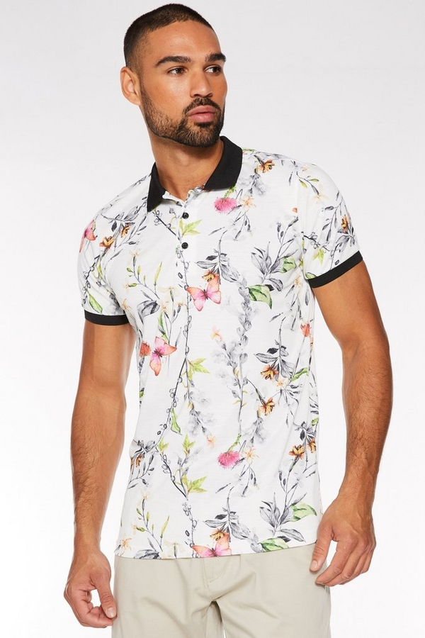 Butterfly Print Polo in White