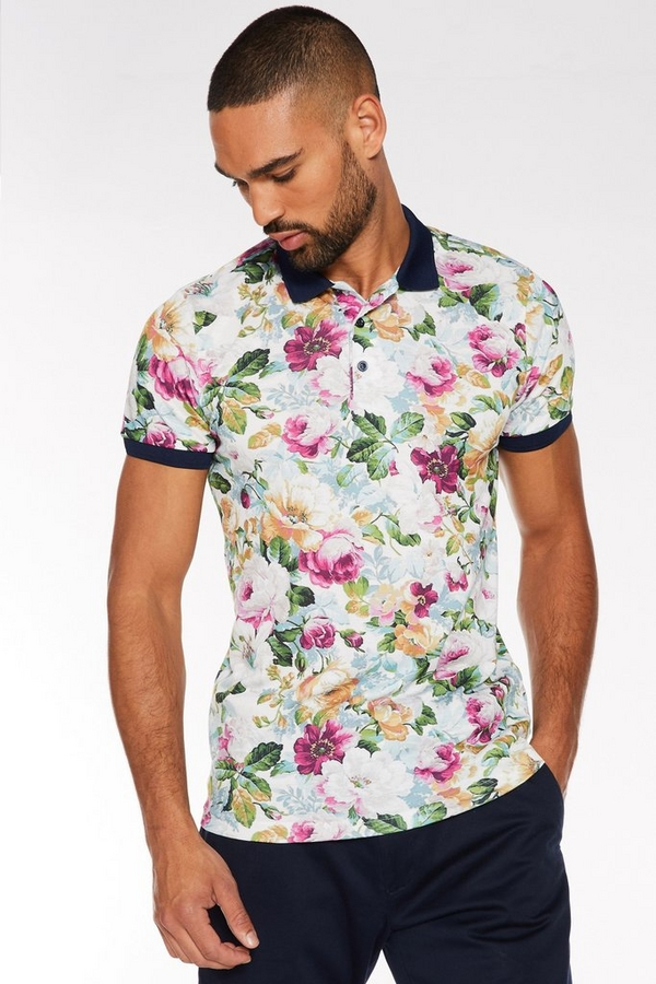 Multicoloured Floral Printed Polo