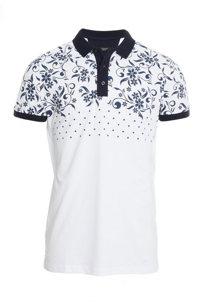 Floral and Spots Polo in White