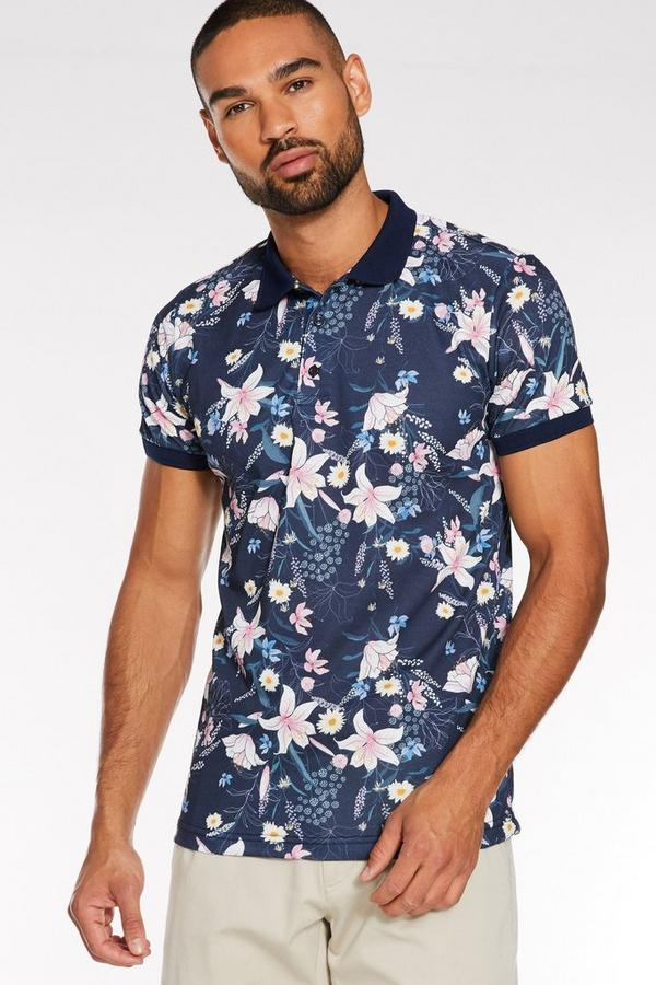 All Over Flower Printed Polo in Navy