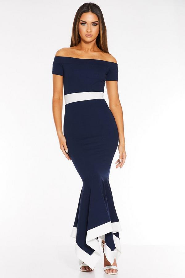 Navy And Cream Bardot Maxi Dress