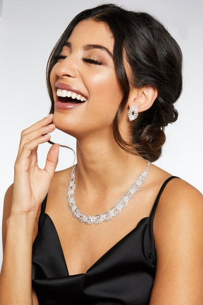 Rose Gold Diamante Jewellery Set