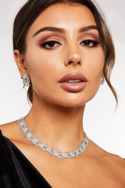 Silver Diamante Jewellery Set