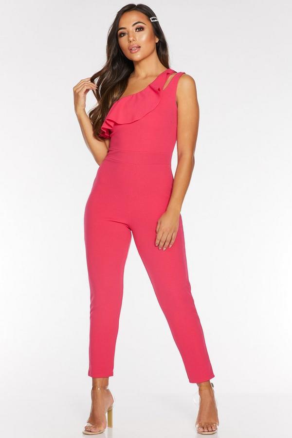 Petite Pink One Shoulder Jumpsuit