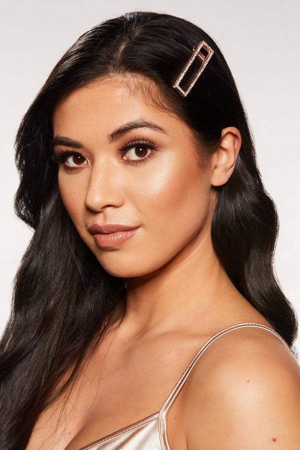 Rose Gold Diamante Rectangle Hair Clip