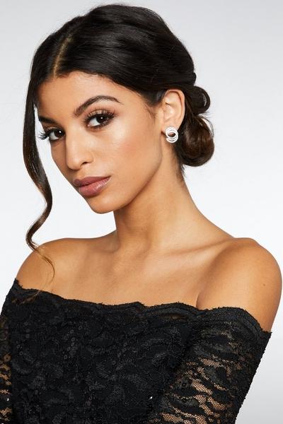 Silver Double Diamante Stud Earrings