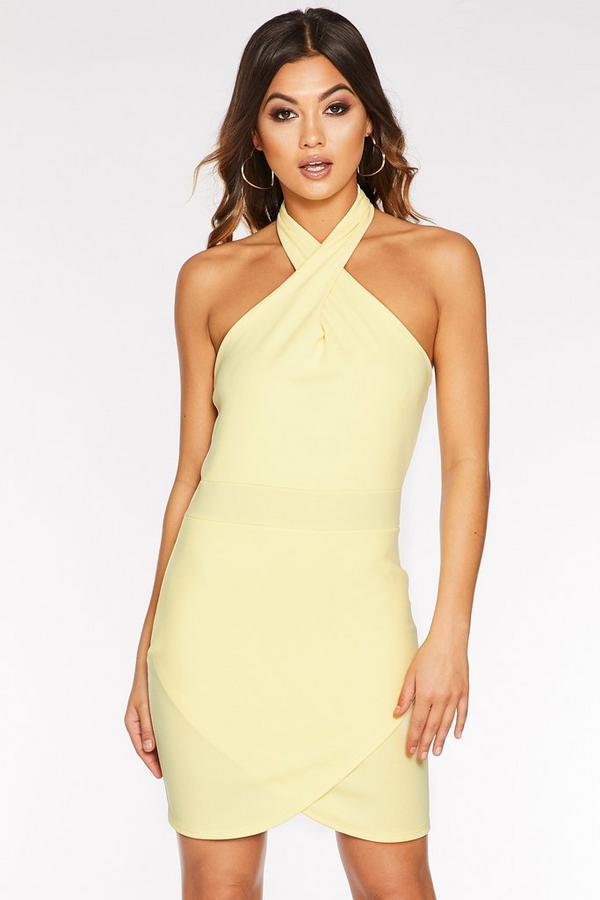 Lemon Halterneck Bodycon Dress