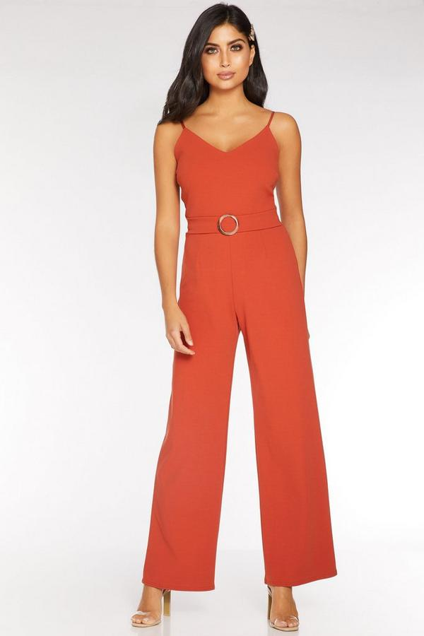Rust V Neck Palazzo Jumpsuit