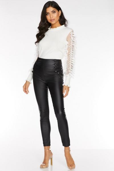 Black High Waist Button Front Trousers