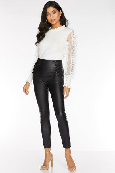 Black High Waist Button Front Trousers