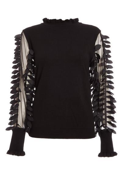 Black Knit Mesh Leaf Design Jumper