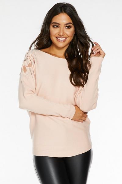 Pink Light Knit Crochet Shoulder Top