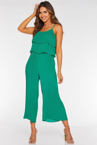 Green Pleated Double Layer Culotte Jumpsuit