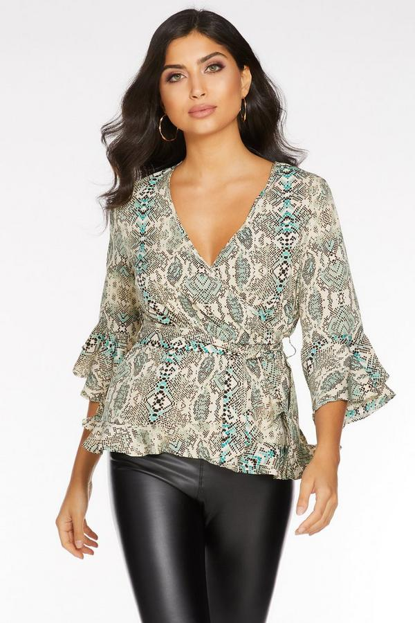 Green And Stone Snake Print 3/4 Sleeve Top