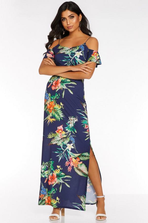 Navy Tropical Print Cold Shoulder Maxi Dress