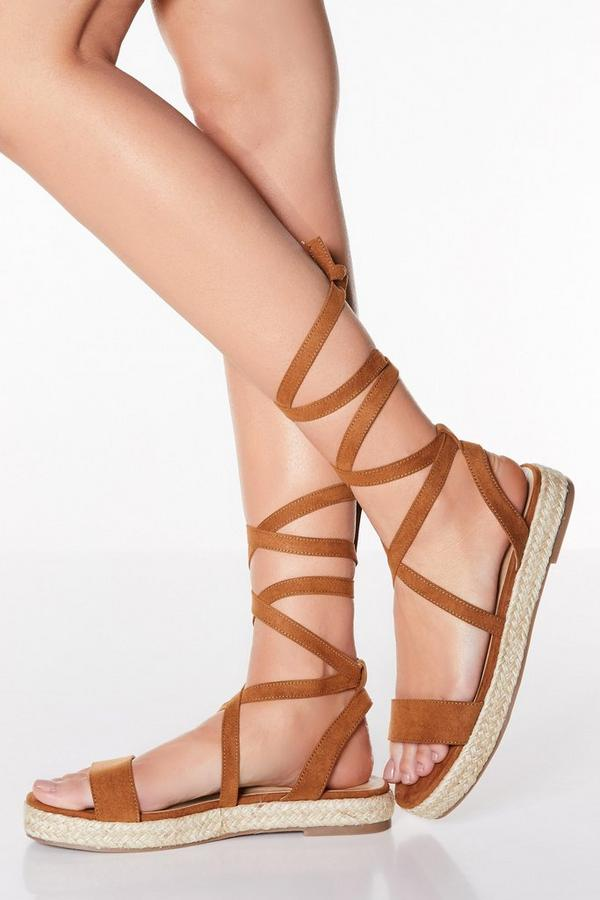 Tan Tie Up Flatform Sandals