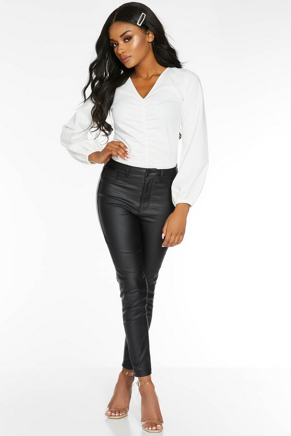 Petite Black Faux Leather High Waist Skinny Jeans