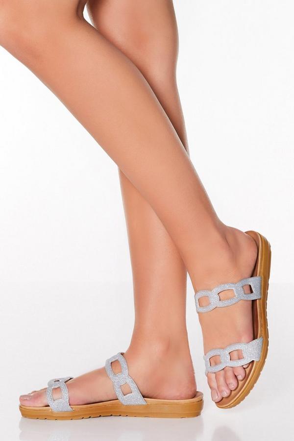 Comfort Silver Glitter Mule Sandals