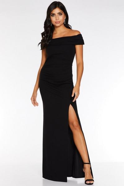 Black Bardot Ruched Split Maxi Dress