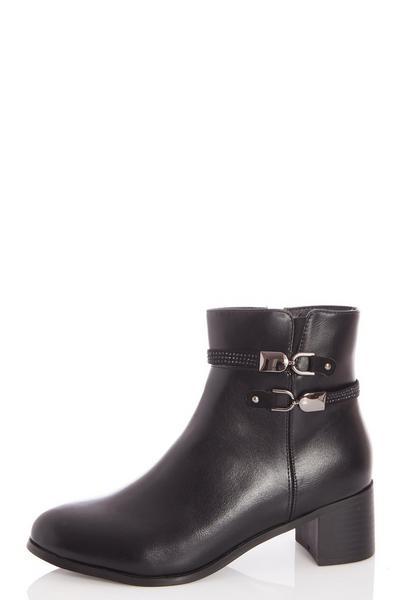 Black Diamante Strap Detail Ankle Boots