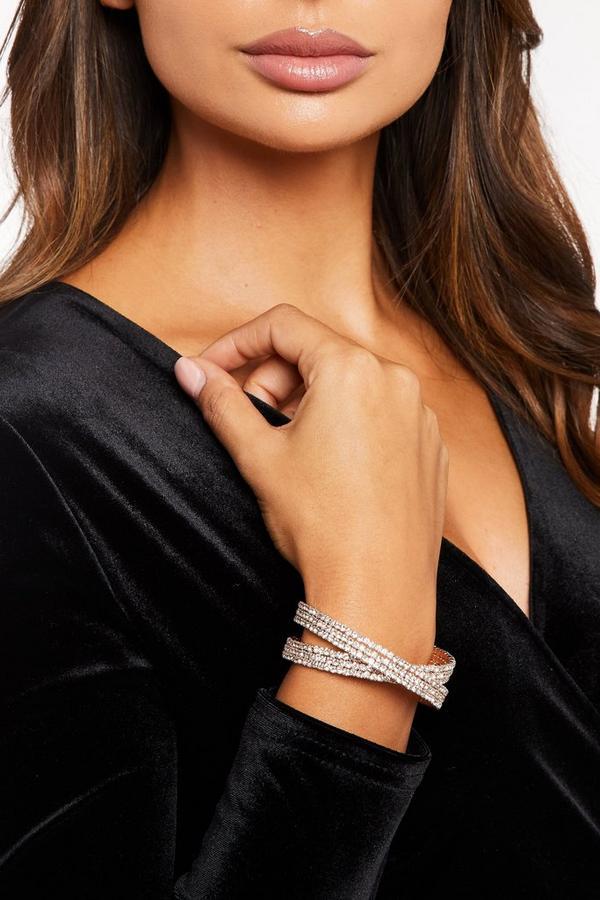 Rose Gold Diamante Cuff Bracelet