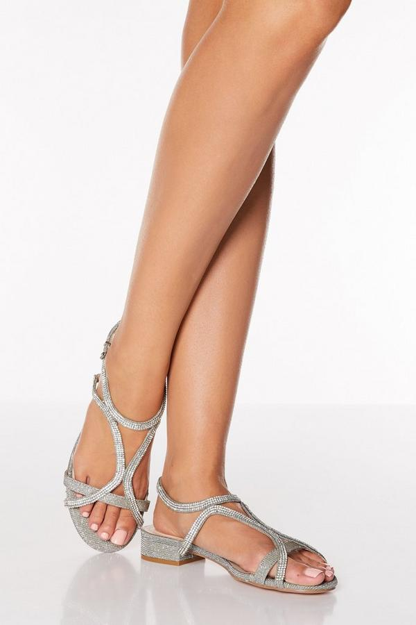 Pewter Diamante Strappy Low Heeled Sandals