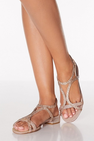 Rose Gold Diamante Strappy Low Heeled Sandals