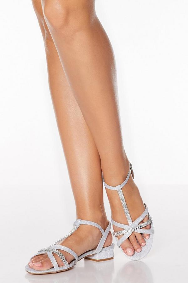 Silver Diamante T Bar Block Heel