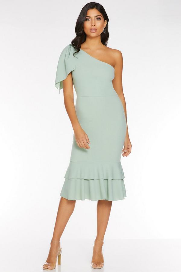 Sage Green One Shoulder Bow Detail Midi Dress