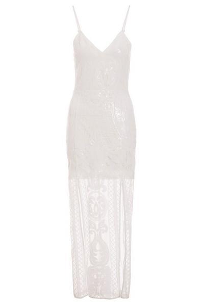 White Sequin Split Maxi Dress
