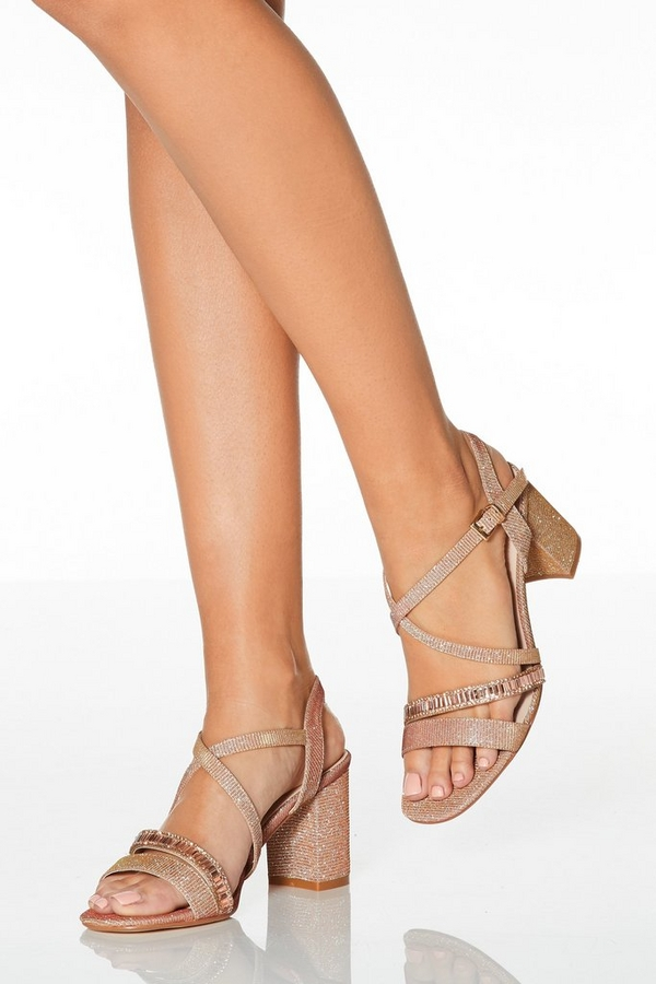 Rose Gold Shimmer Block Heel Sandals