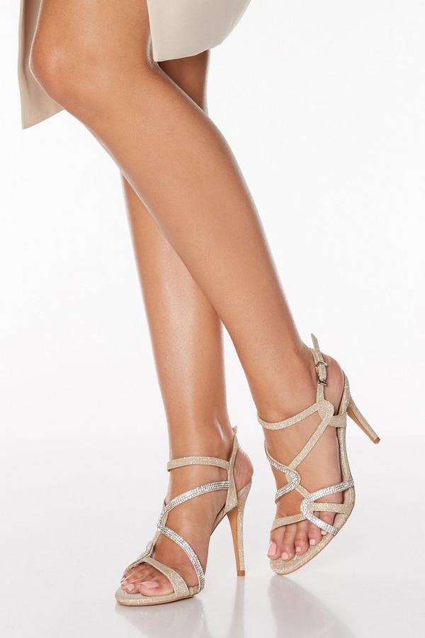 Gold Shimmer Diamante Swirl Heeled Sandals