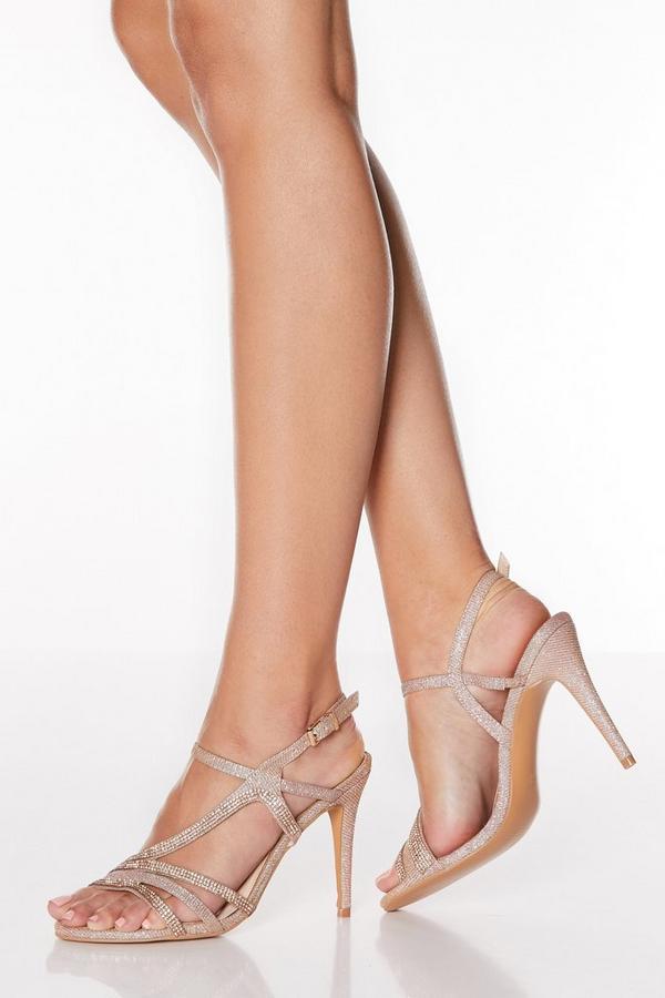 Rose Gold Diamante Asymmetrical High Heel Sandals