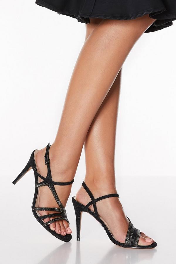 Black Diamante Asymmetrical Strap Heel Sandals