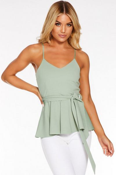 Sage Green Strappy Peplum Top