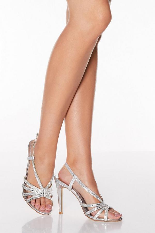 Silver Diamante High Heel Sandals