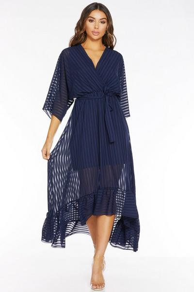 Navy Wrap Belted Dip Hem Midi Dress