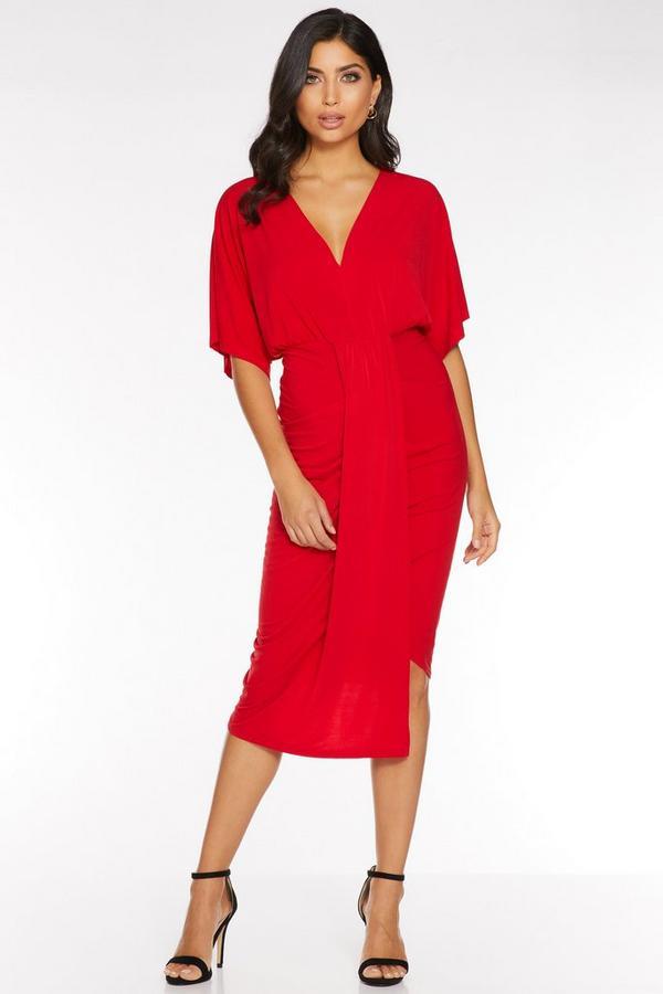 Red Ruched Batwing Dip Hem Midi Dress