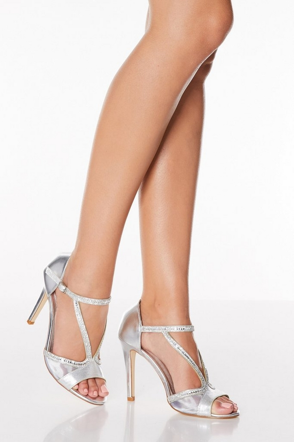 Silver Mesh High Heel Sandals