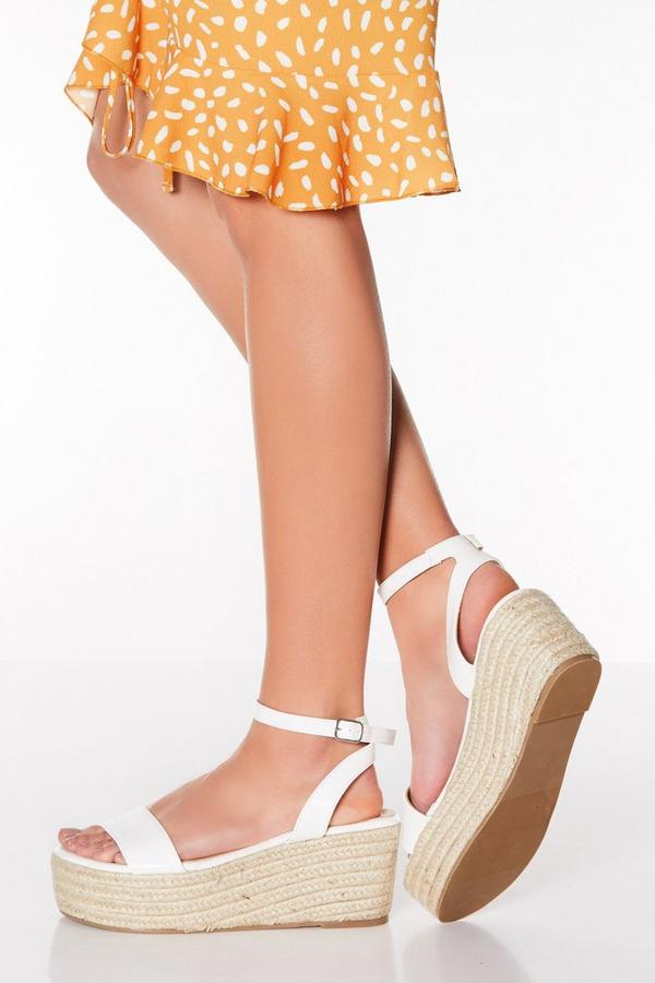 White Faux Leather Espadrille Wedges
