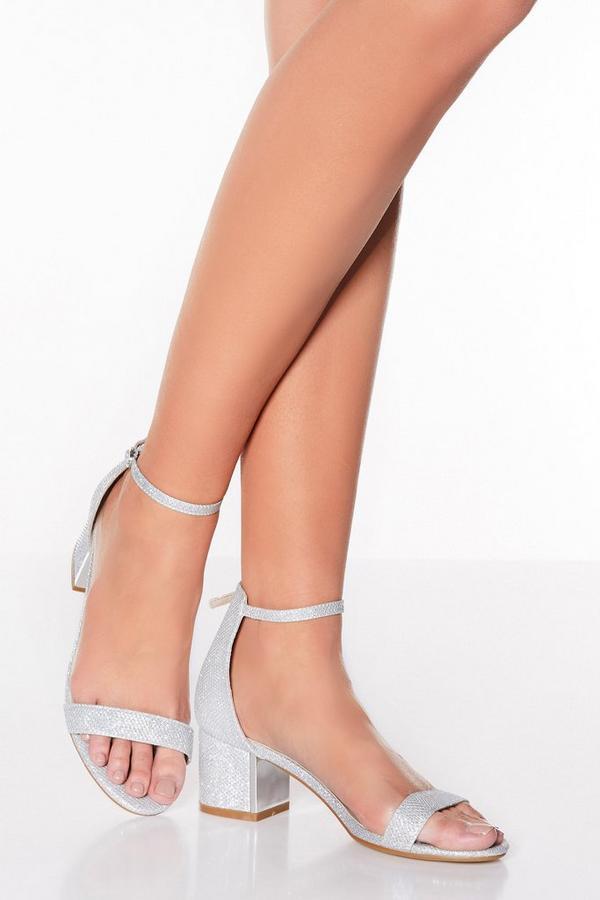 Silver Shimmer Low Heel Sandals