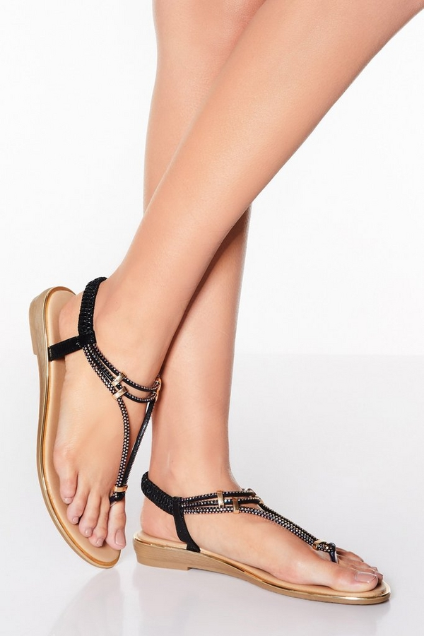 Black Shimmer Diamante Sandals