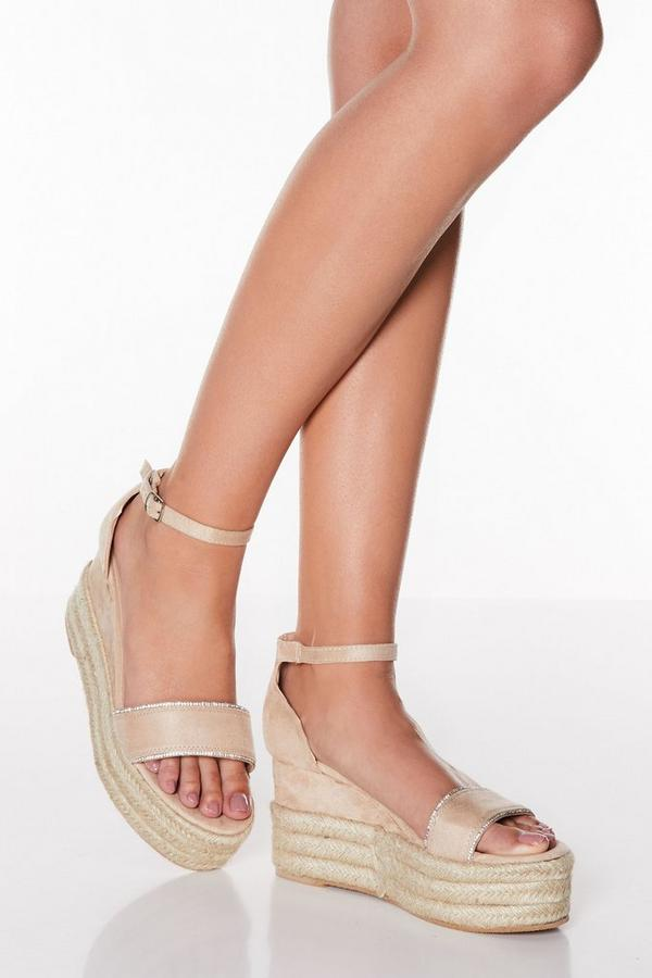Nude Diamante Espadrille Wedges