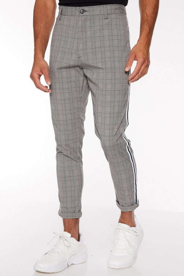 Prince of Wales Check Trouser with Taping