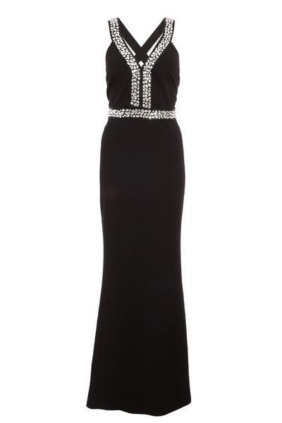 Black Embellished Cross Back Fishtail Maxi Dress